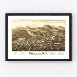 Vintage Map of Hinsdale, New Hampshire 1886