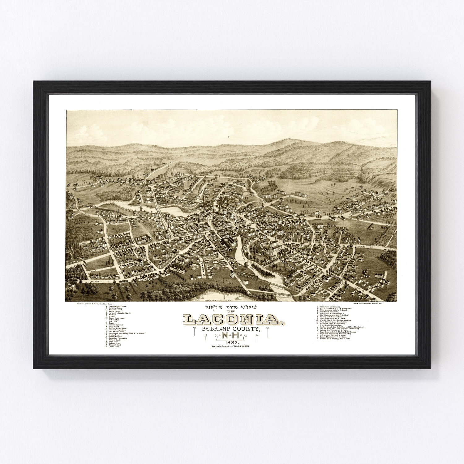 Vintage Map of Laconia, New Hampshire 1883