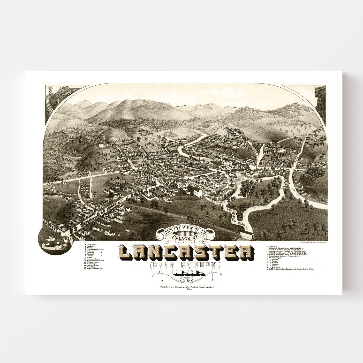 Vintage Map of Lancaster, New Hampshire 1883