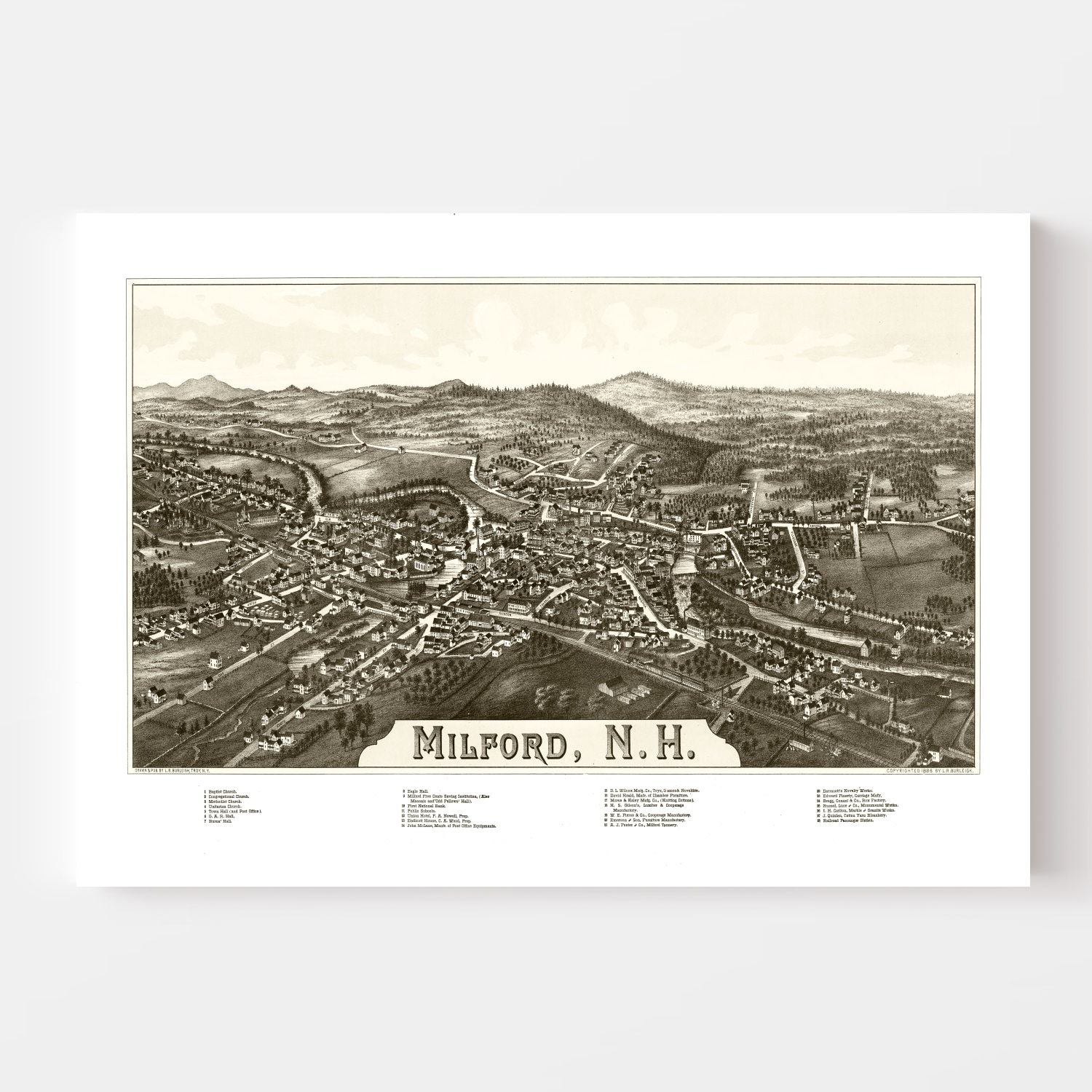 Vintage Map of Milford, New Hampshire 1886