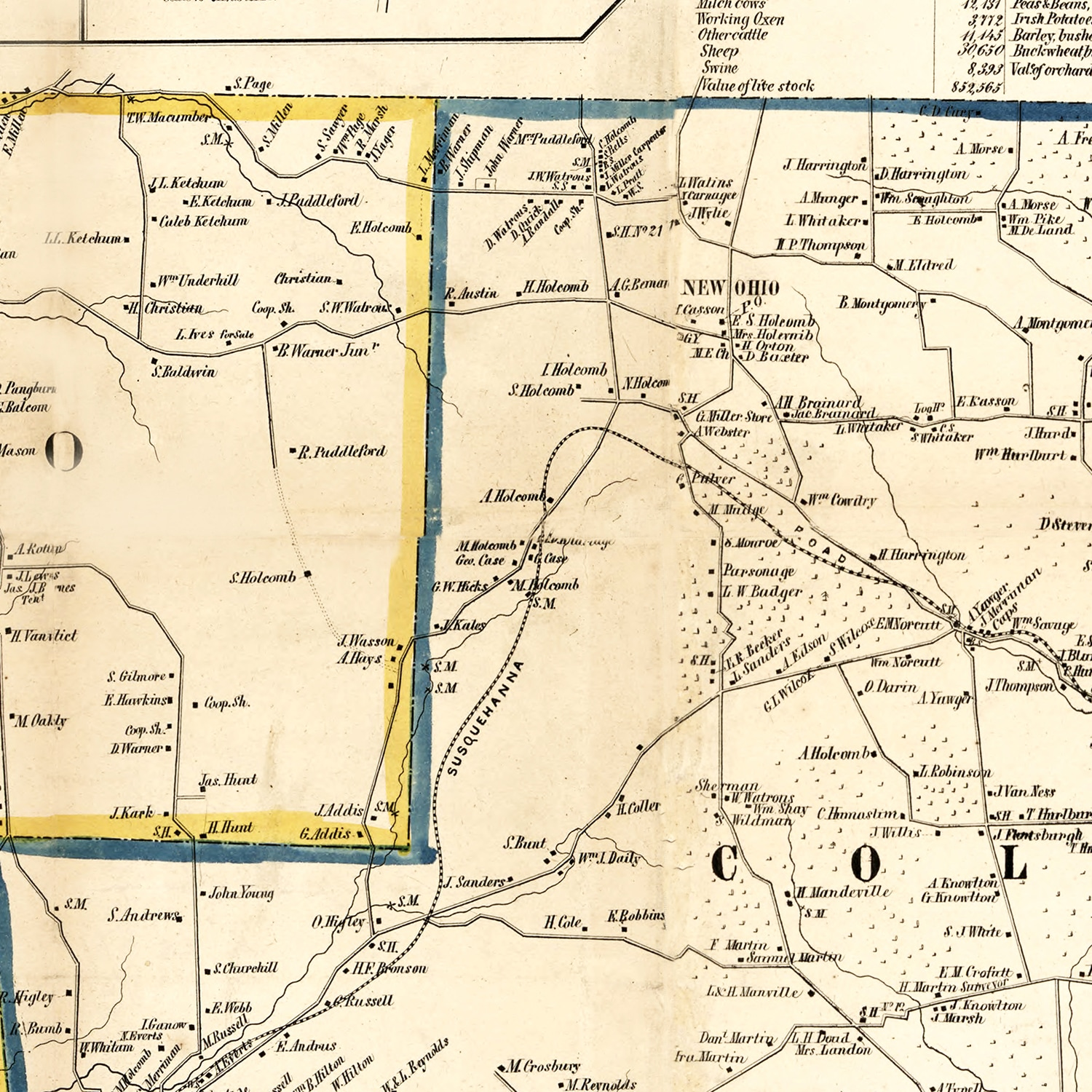Vintage Map of Broome County, New York 1855