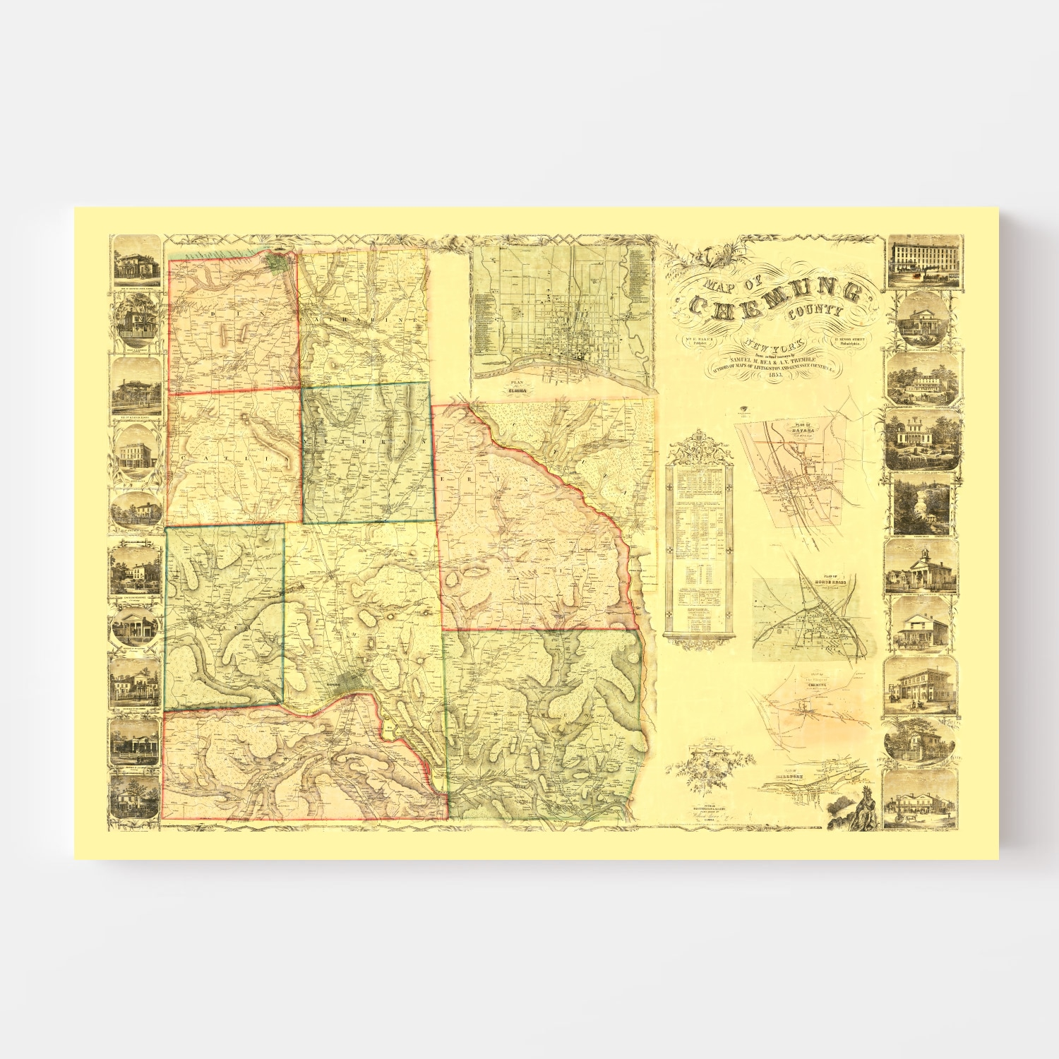 Vintage Map of Chemung County, New York 1853