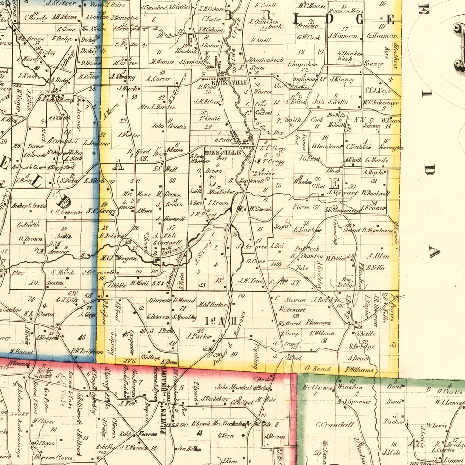 Vintage Map of Madison County, New York 1853