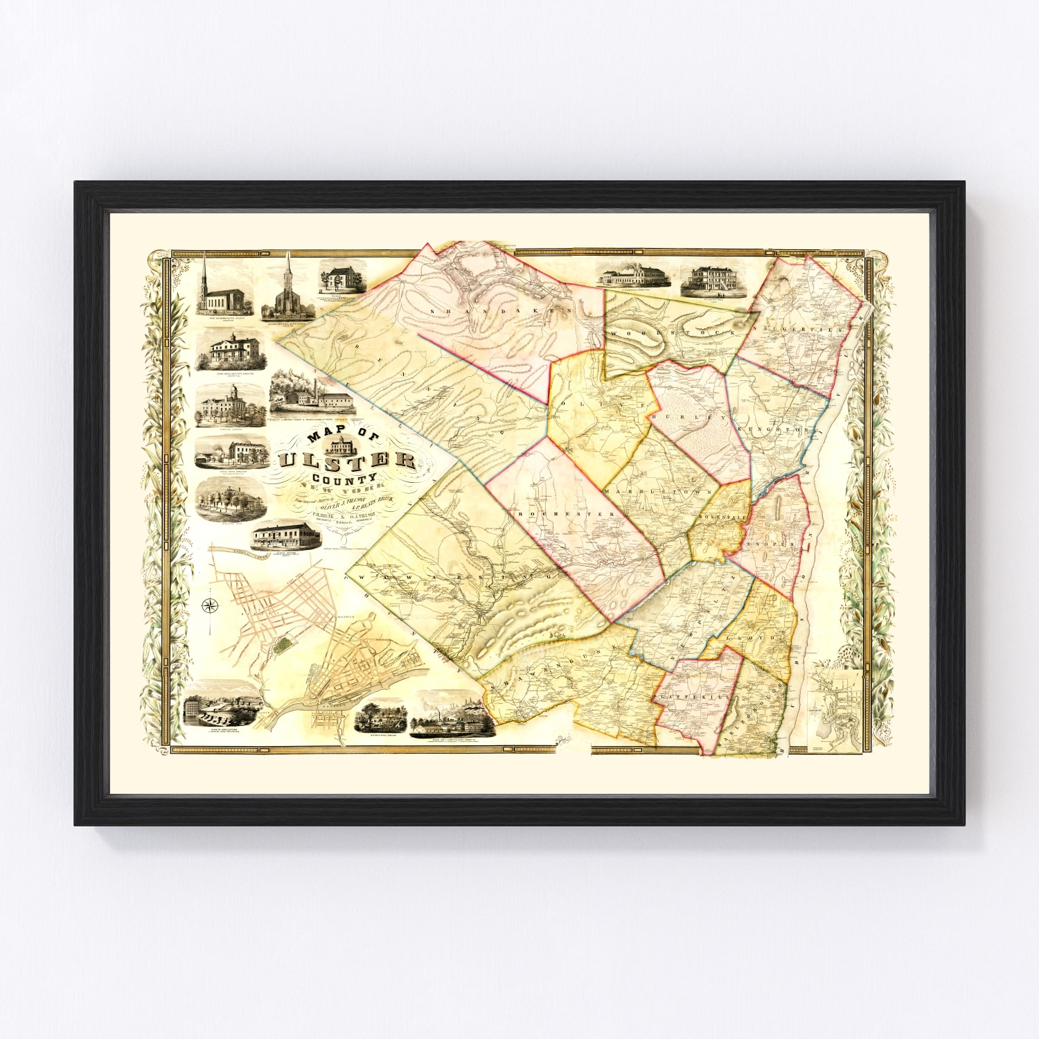 Vintage Map of Ulster County, New York 1853