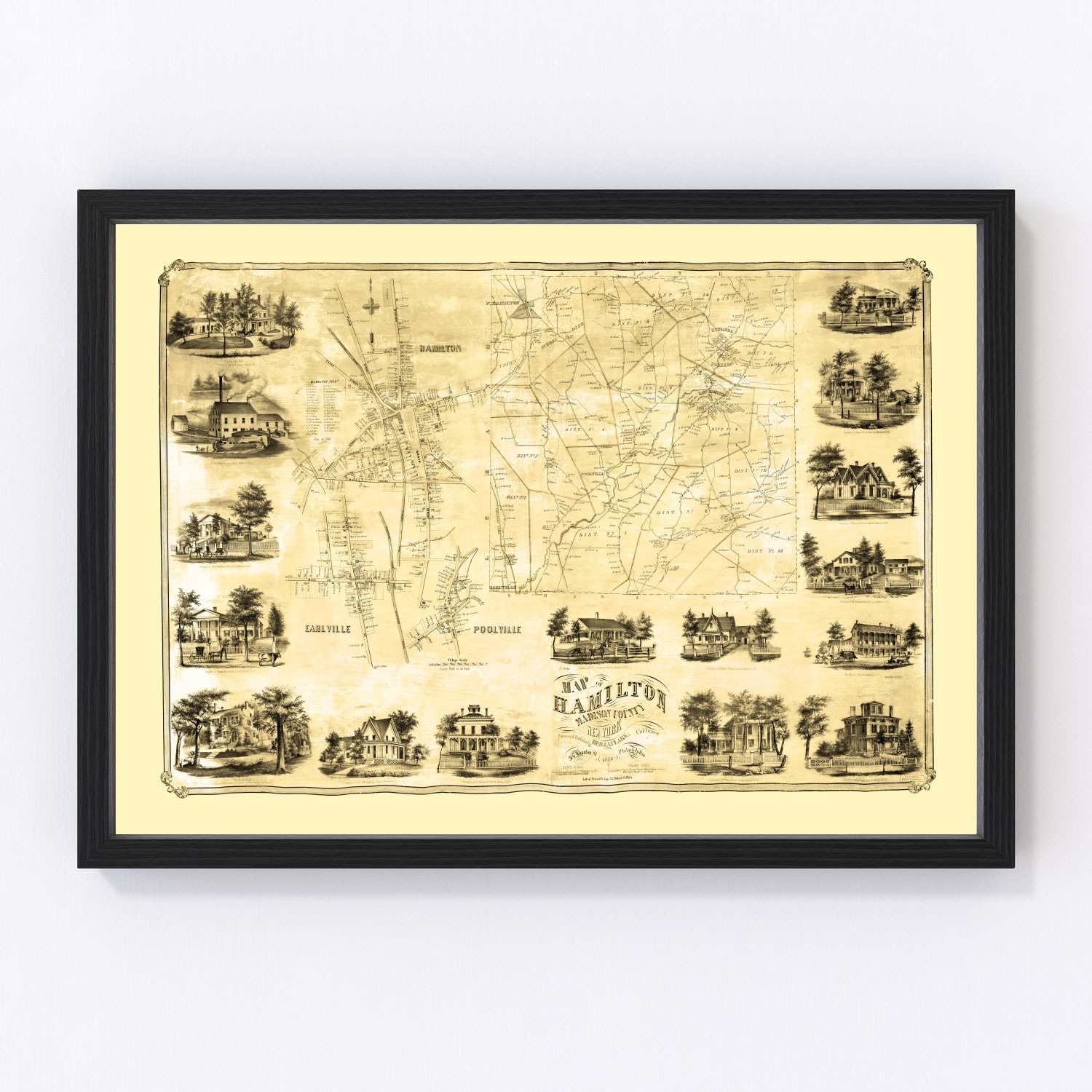 Vintage Map of Madison County, New York 1858