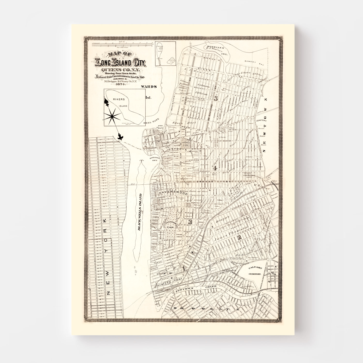 Vintage Map of Queens County, New York 1874