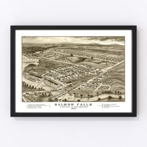 Vintage Map of Salmon Falls, New Hampshire 1877