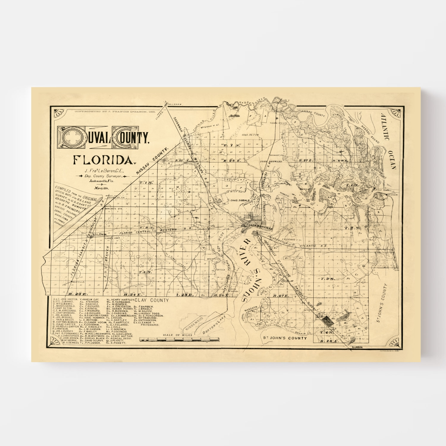 Vintage Map of Duval County, Florida 1885