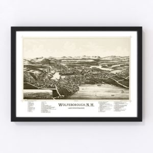Vintage Map of Wolfeborough, New Hampshire 1889