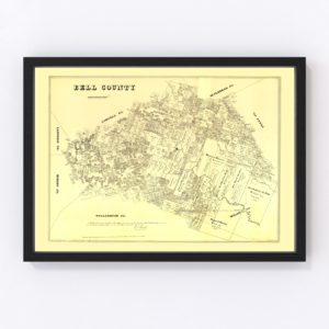 Vintage Map of Bell County, Texas 1879