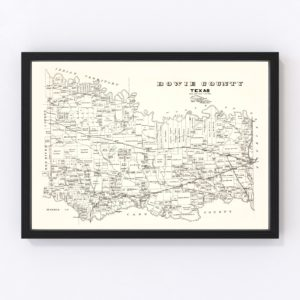 Vintage Map of Bowie County, Texas 1894