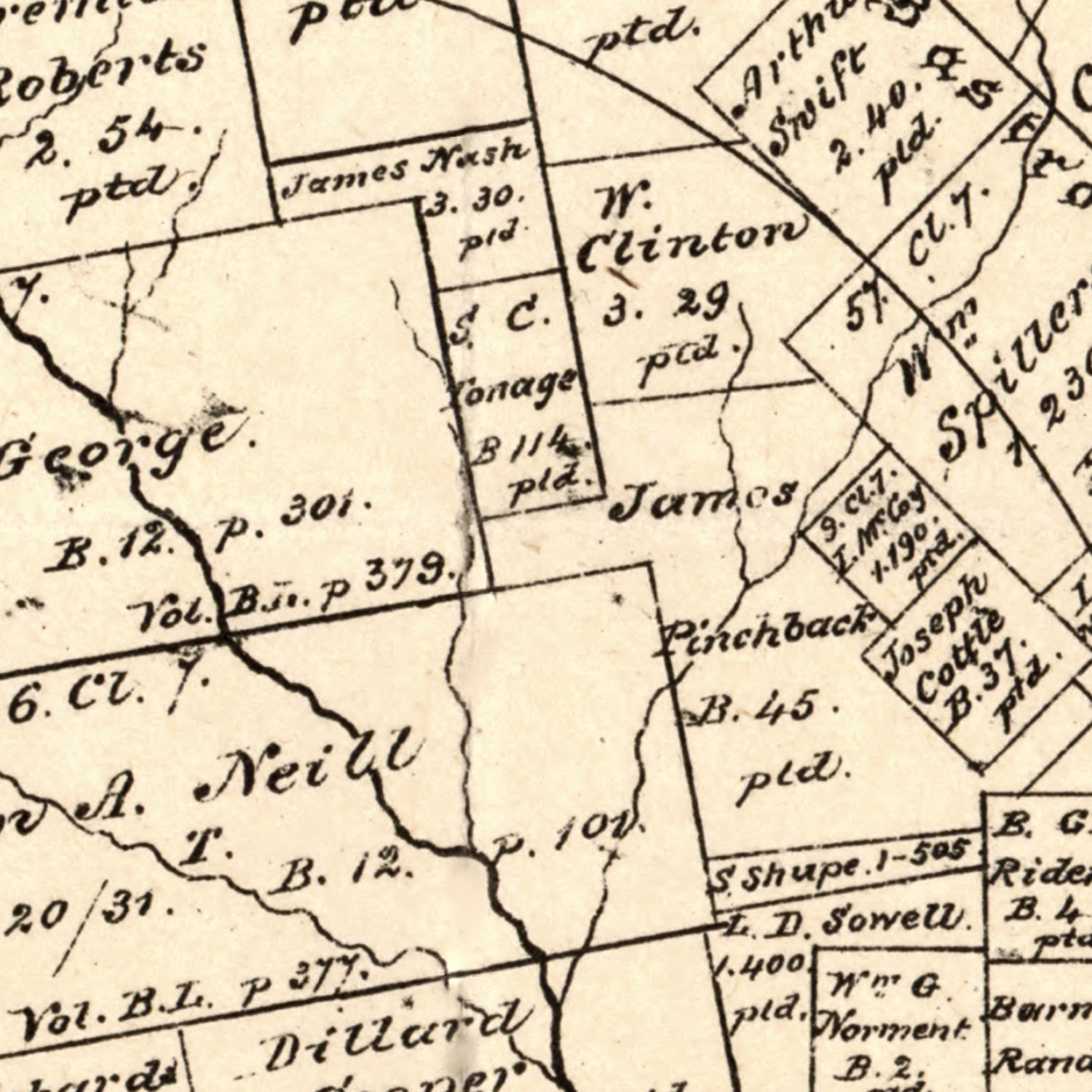 Vintage Map of Caldwell County, Texas 1880