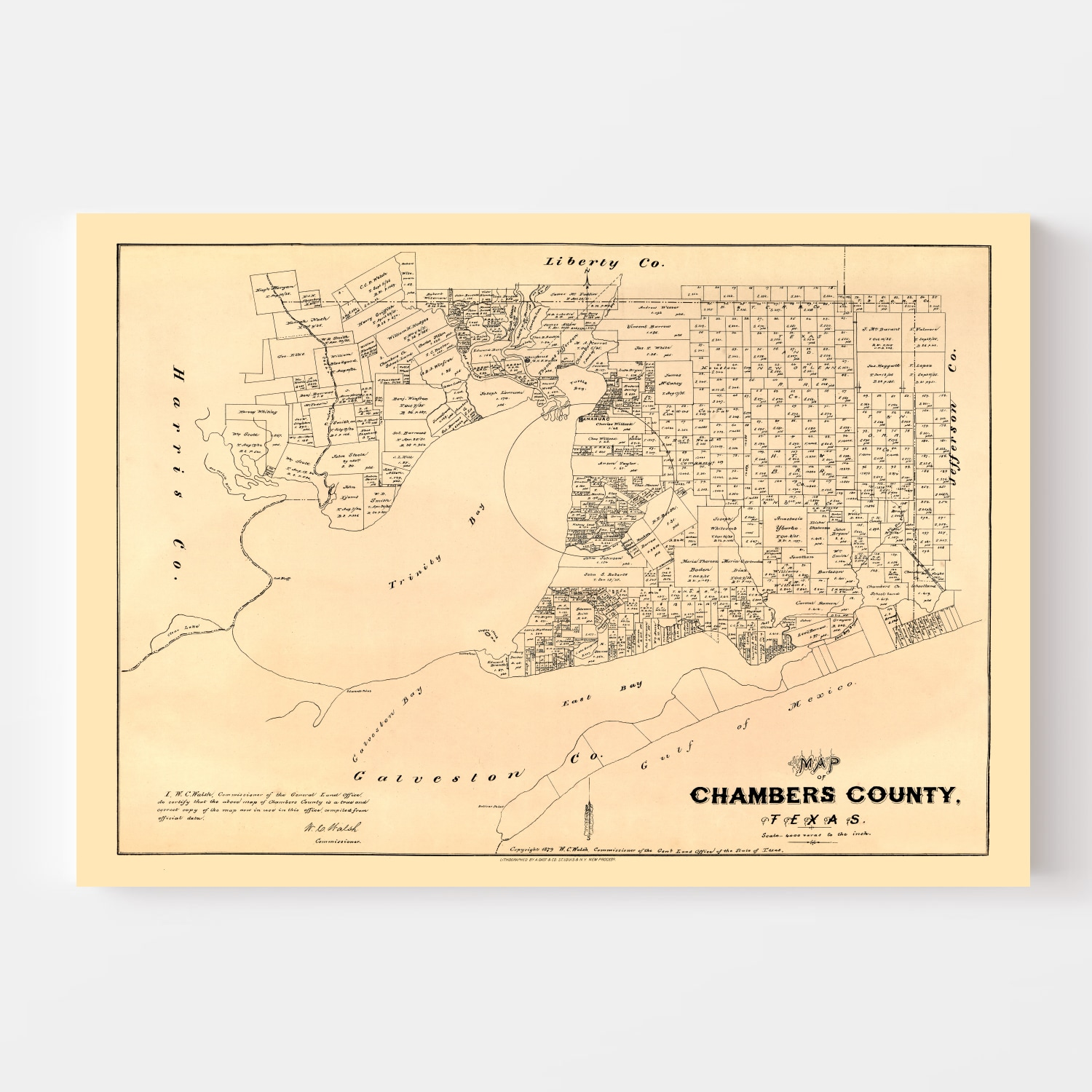 Vintage Map of Chambers County, Texas 1879
