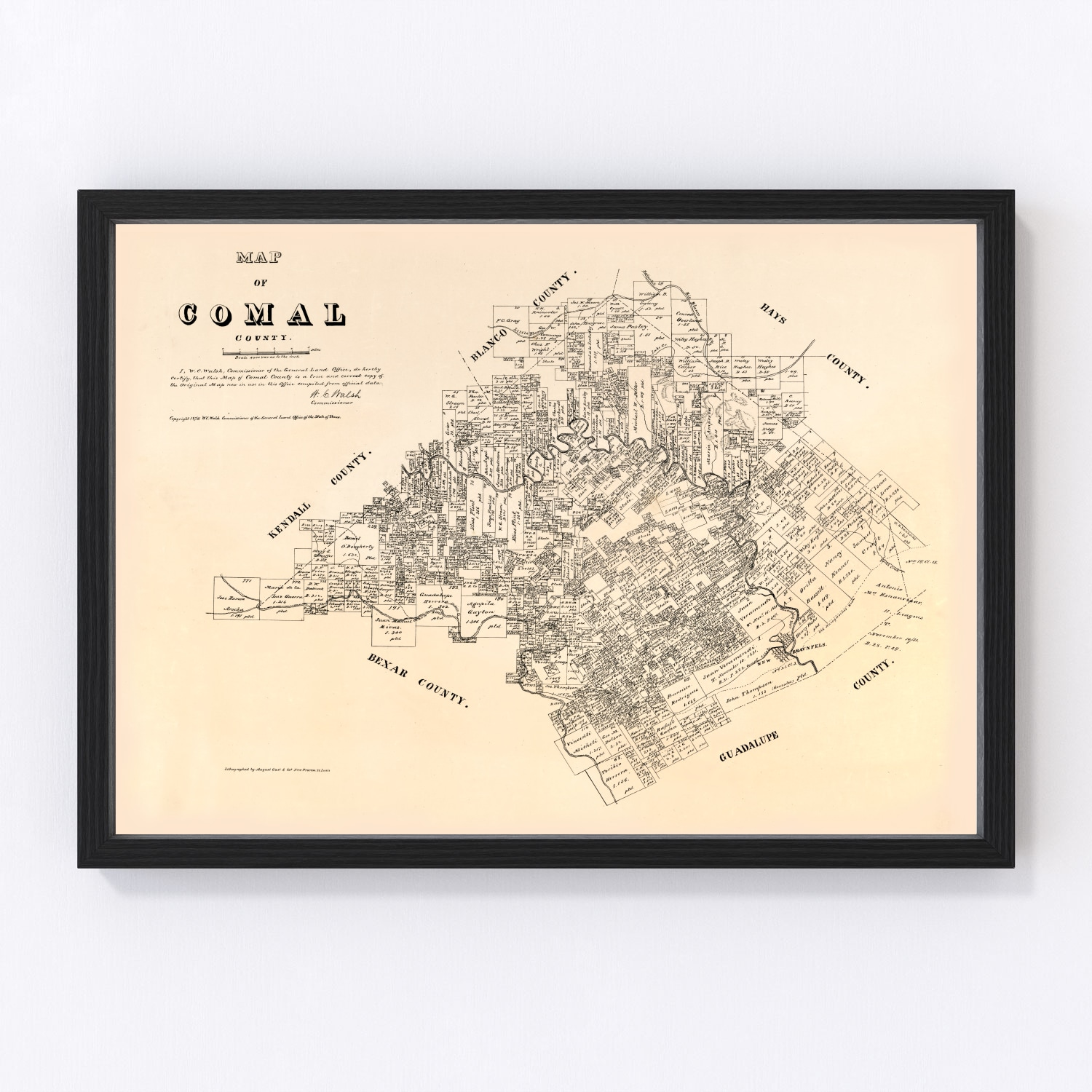 Vintage Map of Comal County, Texas 1879