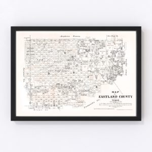 Vintage Map of Eastland County, Texas 1879