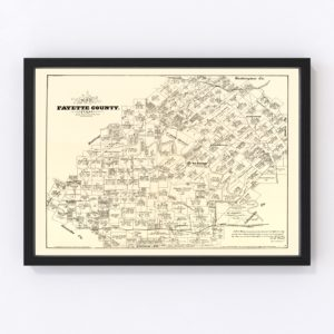 Vintage Map of Fayette County, Texas 1879