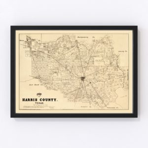 Vintage Map of Harris County, Texas 1879