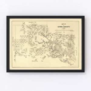 Vintage Map of Kerr County, Texas 1879