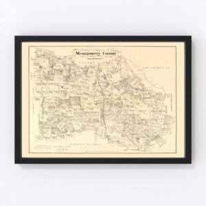 Vintage Map of Montgomery County, Texas 1880