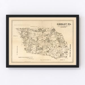Vintage Map of Shelby County, Texas 1879