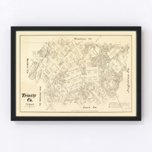 Vintage Map of Trinity County, Texas 1879