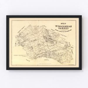 Vintage Map of Williamson County, Texas 1880
