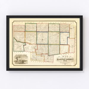 Vintage Map of Marion County, Ohio 1852