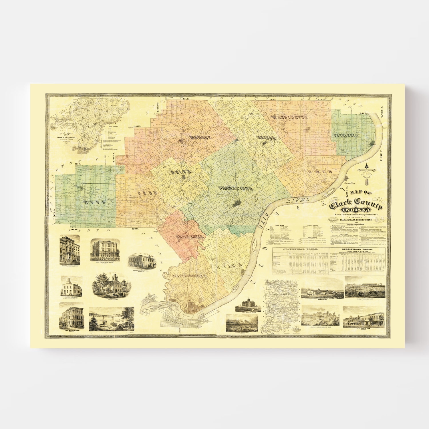 Vintage Map of Clark County, Indiana 1875