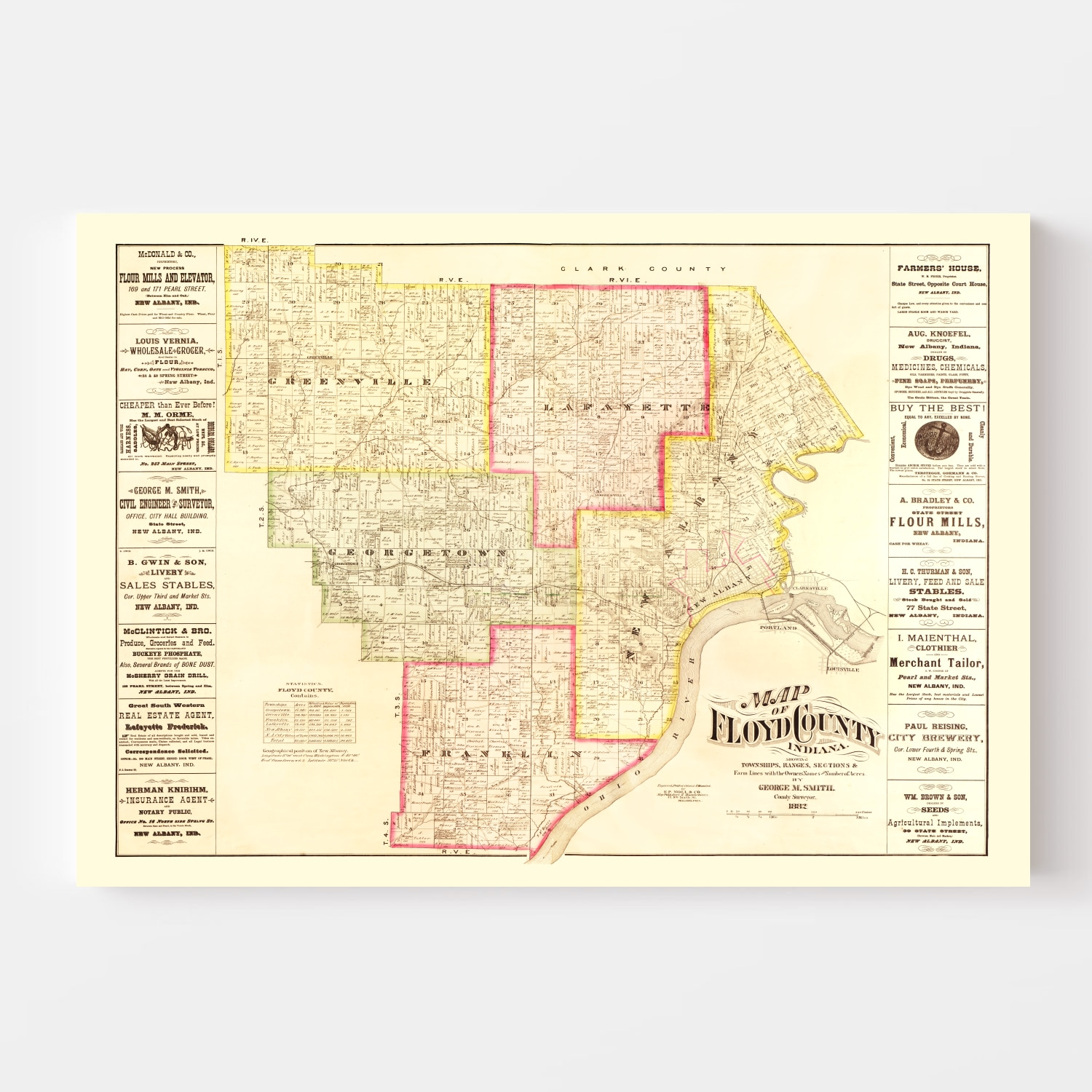 Vintage Map of Floyd County, Indiana 1882