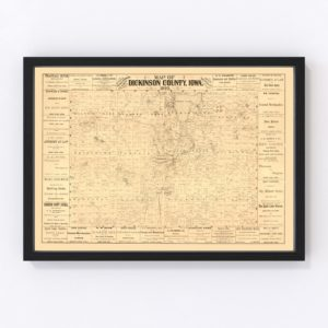 Vintage Map of Dickinson County, Iowa 1883