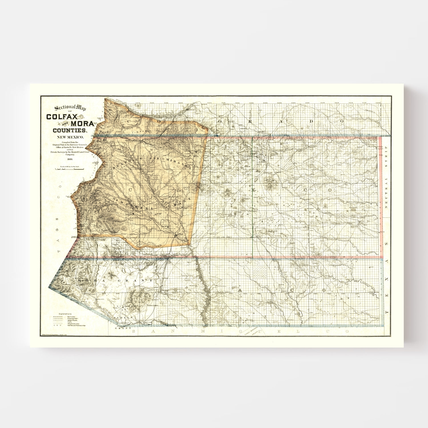 Vintage Map of Colfax County, New Mexico 1889