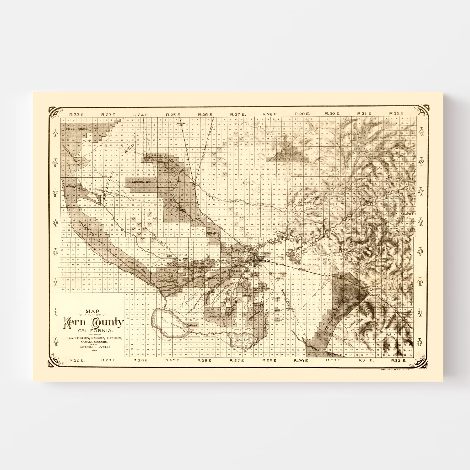 Vintage Map of Kern County, California 1888