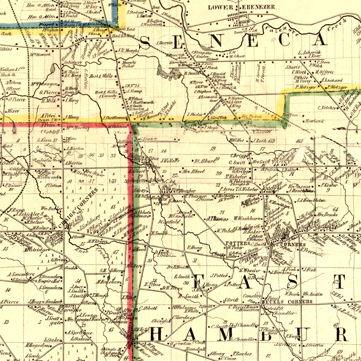 Vintage Map of Erie County, New York 1854