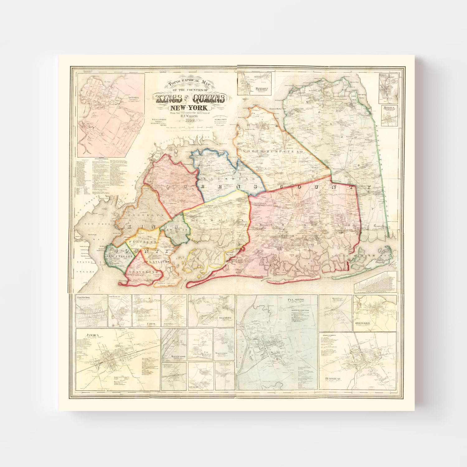 Vintage Map of Queens County, New York 1859