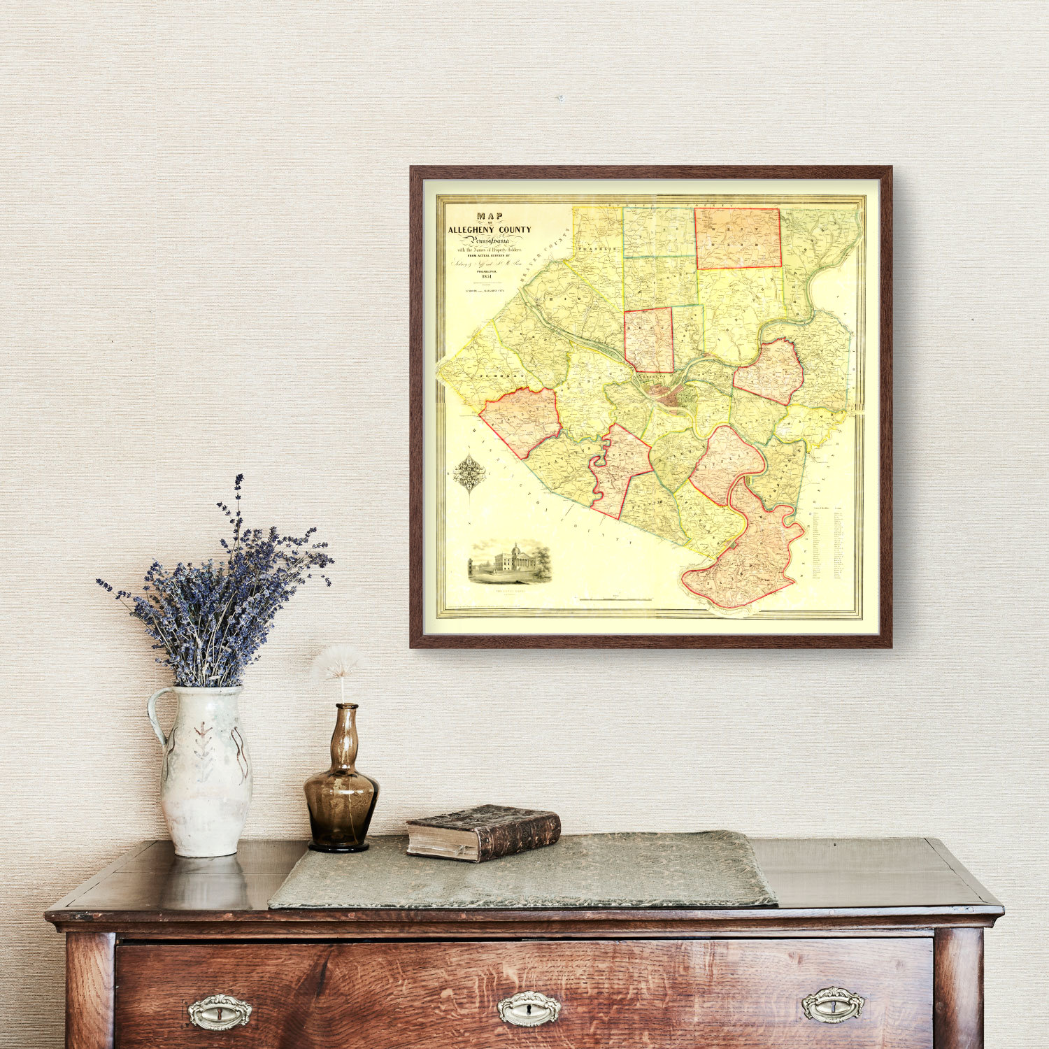 Vintage Map of Allegheny County, Pennsylvania 1851