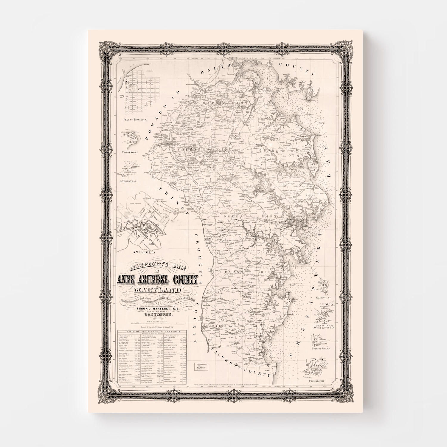 Vintage Map of Anne Arundel County, Maryland 1860
