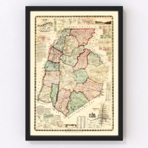 Vintage Map of Frederick County, Maryland 1858