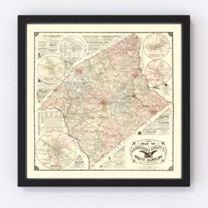 Vintage Map of Anderson County, South Carolina 1897