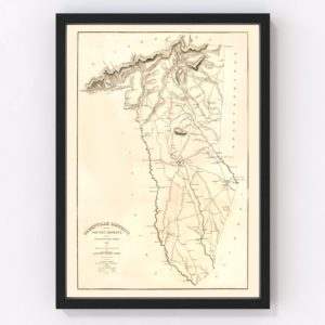 Vintage Map of Greenville District County, South Carolina 1825