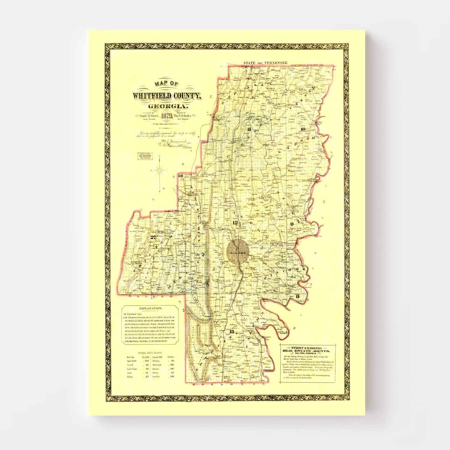 Vintage Map of Whitfield County, Georgia 1879