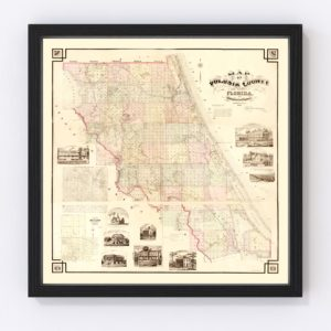 Vintage Map of Volusia County, Florida 1879