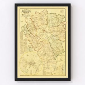 Vintage Map of Madison County, Kentucky 1876