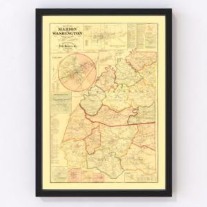 Vintage Map of Marion County, Kentucky 1877