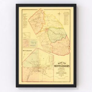 Vintage Map of Montgomery County, Kentucky 1879