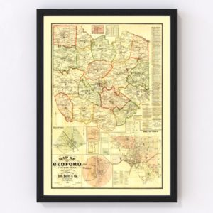 Vintage Map of Bedford County, Tennessee 1878
