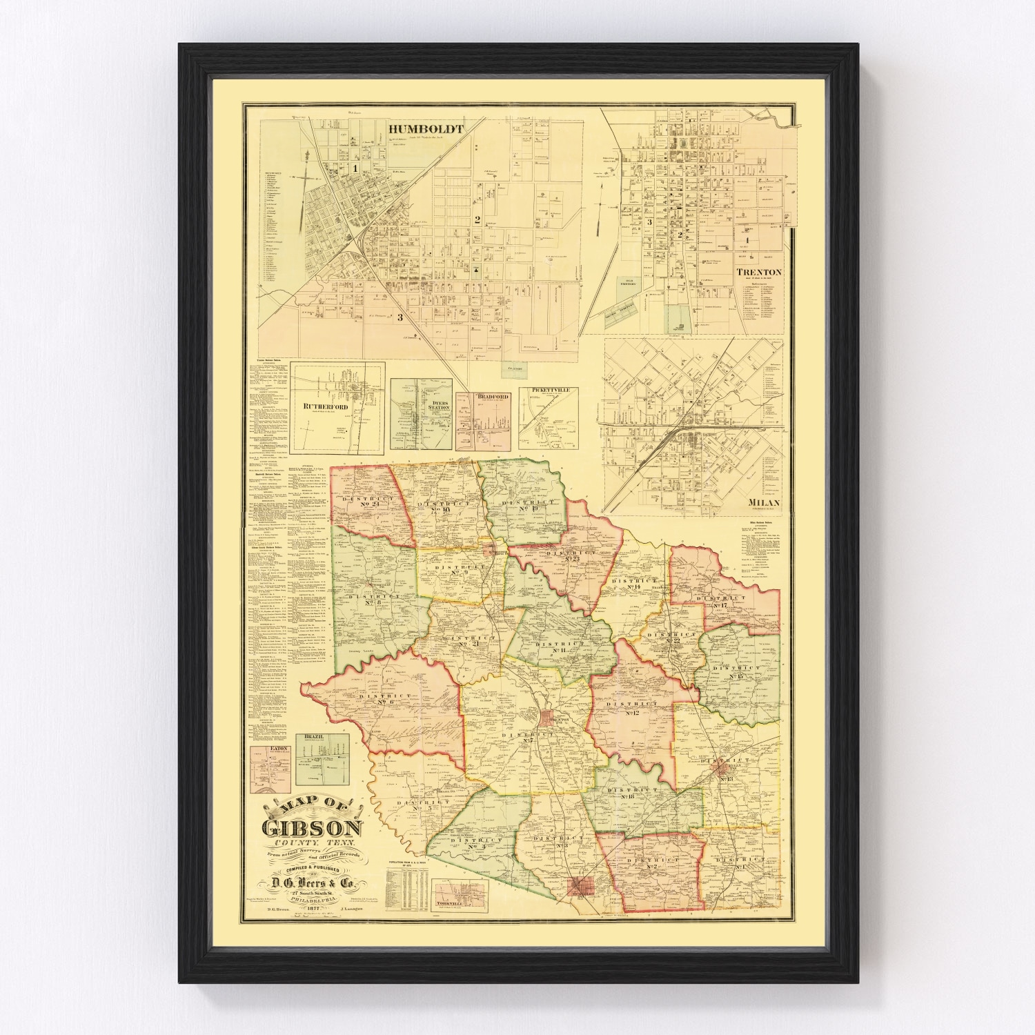 Vintage Map of Gibson County, Tennessee 1877