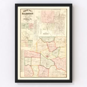 Vintage Map of Madison County, Tennessee 1877