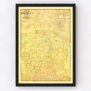 Vintage Map of Maury County, Tennessee 1878