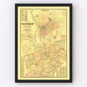 Vintage Map of Montgomery County, Tennessee 1877