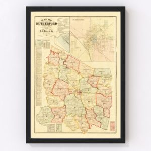 Vintage Map of Rutherford County, Tennessee 1878